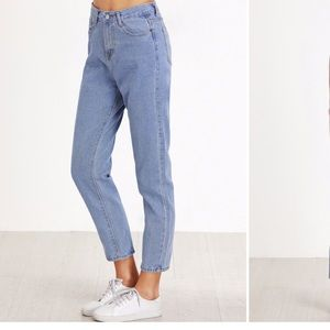 High waisted cropped boyfriend jeans
